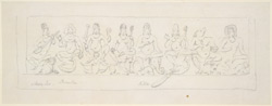 A frieze of Hindu gods, including Shiva, Vishnu, Brahma, Indra, Karttikeya, etc.  1788-93.